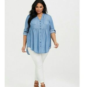 Torrid Chambray Babydoll Button Top Size 1X